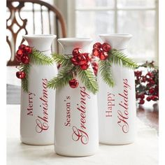Melrose Set of 3 White Milk Bottle Christmas Decorations with Jingle Bells 9 bottle crafts Christmas Balls, Rustic Christmas, Christmas Home, Christmas Lights, Christmas Holidays, Christmas Wreaths, Christmas Decorations, Christmas Ornaments, Christmas Bedroom