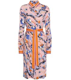 Emilio Pucci - Printed shirt dress - Crafted with a hint of silk for an extra fluid and luxurious feel, Emilio Pucci's printed shirt-style dress is a signature look for the upcoming season. The bold, contrasting hues are tempered by the classic silhouette, tied elegantly at the waist via a self-tie belt. Wear yours with a pair of colourful ballerinas for the height of nonchalant chic. seen @ www.mytheresa.com