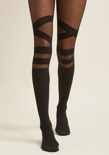You couldn't be more excited to clink glasses with the gals while wearing these sassy black tights. This sheer-meets-opaque pair flaunts bands along its knees and a crisscrossing design across the thighs - perfect to style with a fiery ensemble befo Fashion Tights, Tights Outfit, Thigh High Socks Outfit, Cute Tights, Witch Outfit, Older Women Fashion, Womens Fashion, Nylons, Mode Glamour