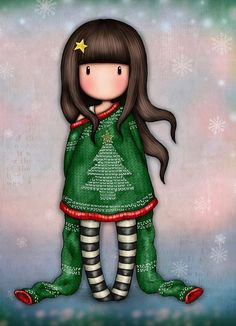 Pretty Art, Cute Art, Cute Images, Cute Pictures, Scrapbook Recipe Book, Colouring Heaven, Cute Girl Illustration, Santoro London, Xmas Wishes