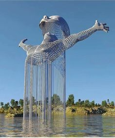 Science Discover Stunning Surreal Digital Art of Chad Knight. Chad Knightss 365 digital art challenge quickly turned into a coded personal journal. Land Art Modern Art Contemporary Art Street Art Instalation Art Urbane Kunst Wow Art Public Art Oeuvre D& Instalation Art, Urbane Kunst, Art Sculpture, Water Sculpture, Futuristic Architecture, Architecture Design, Architecture Definition, Architecture Portfolio, Amazing Architecture
