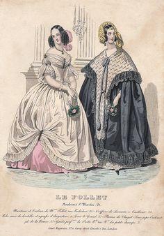 """Le Follet Fashion Plate - 1850 - """"""""MANTEAU ET TURBAN"""""""" - H-C Lithograph"""
