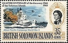 Stamp: Naval battle during World War II. (Solomon Islands) (Discovery of the Solomon Islands) Mi:SB 165,Sn:SB 178,Sg:SB 164