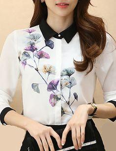 Bayanlar İnce Polyester Uzun Kollu Gömlek Yaka Tüm Mevsimler Çiçekli Büyük Beden Çalışma Beyaz-Bayanlar Gömlek 4975745 2016 – $16.99
