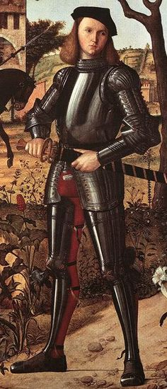 1510 Vittore Carpaccio- Portrait of a Venetian man at arms. Note the long katzbalger and sleek armour lines.