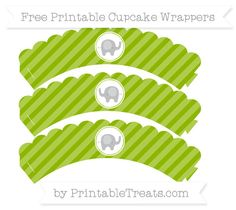 Free Apple Green Diagonal Striped Baby Elephant Scalloped Cupcake Wrappers