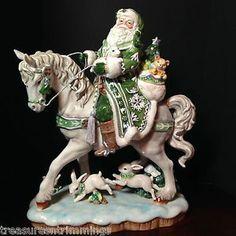 Collectible Fitz Floyd Winter Garden Santa on Horse Figurine Ceramic Christmas   eBay