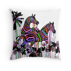 Rainbow Zebras At Play #2;Saundramylesart