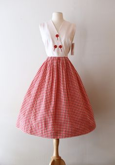 Vintage 1950's Red and White Cotton Gingham Day Dress ~ Vintage 50s Gingham Sundress Waist 28 by xtabayvintage on Etsy
