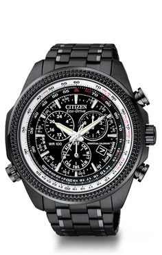 Boldly daring, this sporty watch conveys maximum info at a glance. This 1/20 second chrono measures up to 60 minutes, with perpetual calendar, 12/24 hour time, dual time, alarm, and rotating inner ring. This stainless steel black ion plated case and bracelet features an oversized 48 mm black dial with white ring & screw-back case, and is 100M WR.