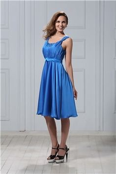 Fashionable A-Line Scoop Neckline Knee-length Veronika's Bridesmaid Dress EF78215