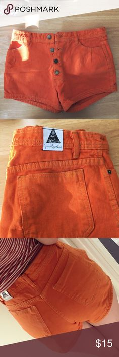 UO Orange High Waisted Button Down Shorts High waisted shorts from Urban Outfitters - Your Eyes Lie brand. Never worn! Beautiful color with button up detail. Urban Outfitters Shorts Jean Shorts