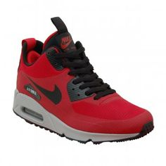 Nike Air Max 90 Mid Winter Gym Red Black - Mens Shoes from Attic Clothing UK