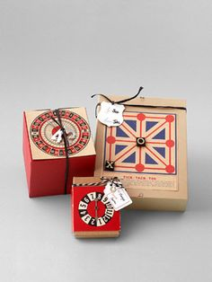 To create these winning packages, Nany Laboz glued vintage game boards and pieces to plain cardboard boxes.