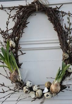 Spring Wreath - simple grapevine wreath, decorated with pussy willow, speckled eggs & bulbs. How pretty! Spring Wreath - simple grapevine wreath, decorated with pussy willow, speckled eggs & bulbs. How pretty! Deco Floral, Arte Floral, Diy Wreath, Grapevine Wreath, Willow Wreath, Advent Wreath, Speckled Eggs, Egg Decorating, Easter Wreaths