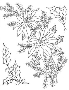 Holly & Poinsettia Embroidery Patterns