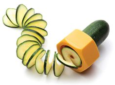 The Cucumbo is a hexagonal kitchen tool that slices cucumbers and zucchinis into coiled, Slinky-like shapes. The device is twisted around the tubular vegetable like a handheld pencil sharpener -- a...