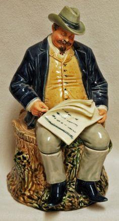 Antique-BERNARD-BLOCH-Ceramic-Tobacco-Humidor-Jar-Man-Sitting-Tree-Stump-Figural