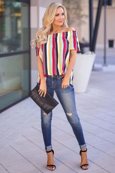 Work Of Art Striped Top - Multi - Closet Candy Boutique Curvy Fashion, Urban Fashion, Plus Size Fashion, Late Summer Outfits, Spring Outfits, Casual Outfits, Fashion Outfits, Womens Fashion, Fashion Fall