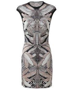 Alexander McQueen Patterned Wool Silk Knit Dress - Lyst