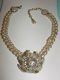 Miriam Haskell double strand baroque pearl necklace