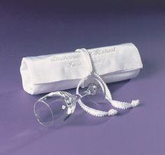 Jewish Wedding Glass and Satin Bag   Jewish Wedding Accessories