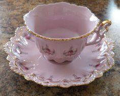 "Pink porcelain Hand Painted *Tea Sets Cup 2 1/2"" & Saucer 6""* Czech Republic"