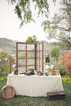 Wedding decor, maybe put pics in the little windows? or something. Love this partition thing