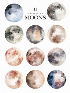 Watercolor Moons + Bonus - Illustrations - 2