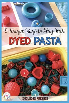 Simple and fun 4th of July sensory idea for toddlers, preschool, & pre-k students. Use at home or in your classroom to celebrate Independence Day! These Fourth of July activities for kids are all centered around a bin of blue and red dyed pasta. Directions for dyeing pasta included in this post. I've also included 5 unique sensory activities (that go along with this sensory bin) that focus on math and fine motor skills for you to try. Click thru to read more & have fun celebrating America!