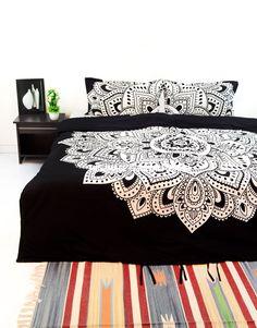 Black  White Mandala Bedding Duvet Cover Set with 2 Pillow Covers on RoyalFurnish.com, $39.55