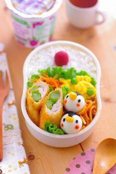 egg penguin bento