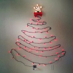 How to make a wall christmas tree with lights - Fast and Easy Installation Winter Holidays, Happy Holidays, Christmas Holidays, Christmas Crafts, Christmas Stuff, Wall Christmas Tree, Christmas Trees, Tree Wall Art, Xmas Decorations