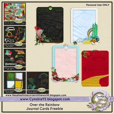 FREE Over the Rainbow Journal Cards Freebie by Cynthia Young Designs