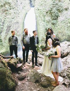 Wahclella Falls elopement in Oregon