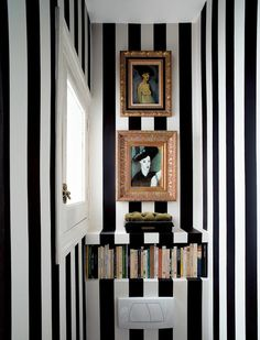 Check Out 27 Inspiring Guest Toilet Design Ideas.Even though a guest toilet is usually quite small, there is no reason it shouldn't be big on style. Wc Decoration, Noguchi Coffee Table, Design Industrial, Guest Toilet, Small Toilet, Guest Bath, Black And White Interior, White Art, Striped Walls