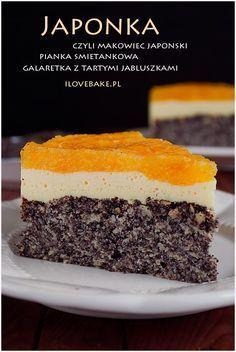 CIASTO JAPONKA #poppyseed Polish Desserts, Polish Recipes, Cookie Desserts, No Bake Desserts, Sweet Recipes, Cake Recipes, Dessert Recipes, Food Cakes, Sweet Cakes