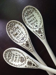✿-∆-✿⊰ LOVE ⊱✿-∆-✿ - Wood burned Wooden Spoon HOME SWEET HOME