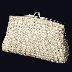 """""""The Ireland"""" Elegant Rhinestone Mesh Evening Bag Bridal bag, bridal clutch, silver bridal clutch, mesh bridal cluch"""