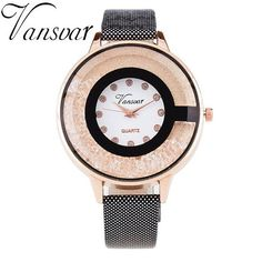 Vansvar Brand Fashion Ladies Crystal Diamond Rhinestone Watches Women Beauty Dress Quartz Wristwatch Clock Relogio Feminino V15