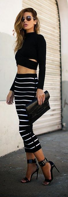 Striped Pencil Skirt Paired With Black Crop top, Black Clutch And Black Heels