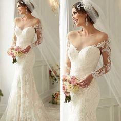 Long sleeve wedding dresses with an off the shoulder neckline are romantic. This fully lace wedding gown can be recreated by us for you in any size or with any changes.  Get info on custom #weddingdresses that are affordable (or replicas of couture designs) at www.dariuscordell.com