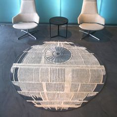 The Death Star is calling. A Star Wars-themed rug, handmade in Nepal. A 6'x6' hand-knotted rug in wool & bamboo, it's top of the line in quality. Please allow 2 weeks for shipping.