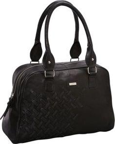 Woven Double Handle Leather Satchel Black