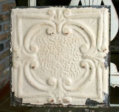 "12"" Antique Tin Ceiling Tile - Rusty Cream Paint with Pretty Design --- A6 