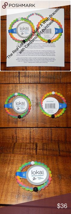 Lokai Neon Make A Wish Bracelets 2 ea Real Lokai with Cards - Lokai Neon Make A Wish Bracelets Sz Medium, lot of 2. Will provide copy of receipt as my proof of purchase. Dated 4/11/2016 Brand new with tags. Paid full retail cost of $18 ea from Lokai at time of release plus postage. These were only sold for a limited time only. Price is firm Lokai Jewelry Bracelets