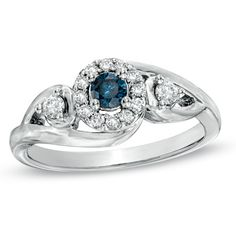 3/8 CT. T.W. Enhanced Blue and White Diamond Engagement Ring in 10K White Gold - Zales