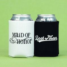 Exclusively Weddings Maid of Honor and Best Man Can Coolers by Exclusively Weddings. $10.84. These can coolers remind everyone who your specially chosen maid of honor and best man are as they enjoy a cold one on the big day or at the rehersal dinner. Made of cloth in chic black and white, these can coolers are great as a gift for the wedding party. - Exclusively Weddings - 148-1102