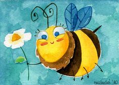 La primavera il·lustrada / La primavera ilustrada / The illustrated spring Bee Drawing, Bee Painting, Bee Illustration, I Love Bees, Cute Bee, Bee Art, Happy Paintings, School Art Projects, Cute Monsters