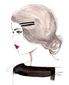 Print from original watercolor and pen fashion illustration by Jessica Durrant titled, The Girl Who Loved Vintage, via Etsy.